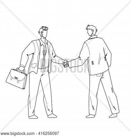 Handshaking Businessmen After Success Deal Black Line Pencil Drawing Vector. Businesspeople Handshak