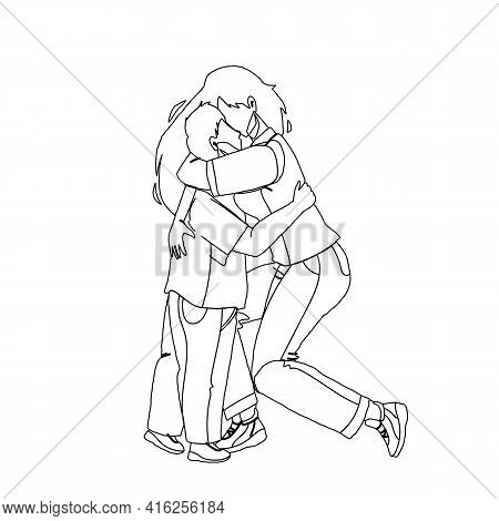 Mother Woman Hugging With Love Baby Son Black Line Pencil Drawing Vector. Young Girl Sister Hugging