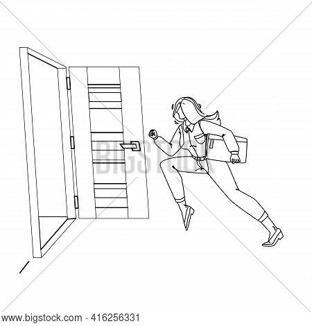 Woman Leaving Room, Running To Open Door Black Line Pencil Drawing Vector. Young Businesswoman Holdi