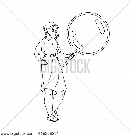 Girl Looking Through Magnifying Glass Tool Black Line Pencil Drawing Vector. Young Woman Holding And