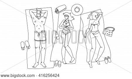 People Lying On Beach Relax And Sunbathing Black Line Pencil Drawing Vector. Young Man And Girls Lyi