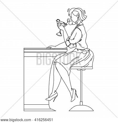 Martini Beverage Drink Girl At Bar Counter Black Line Pencil Drawing Vector. Young Woman Drinking Al