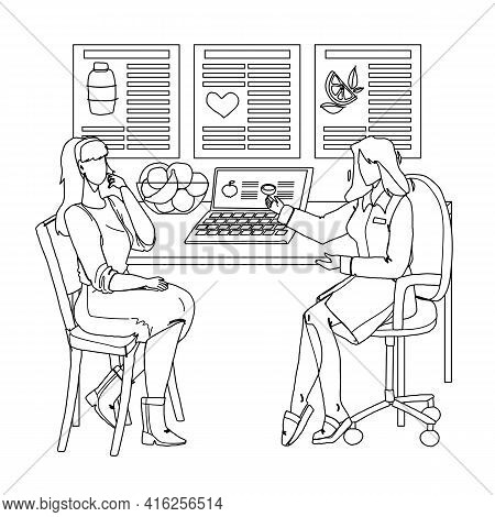 Nutritionist Giving Consultation To Patient Black Line Pencil Drawing Vector. Nutritionist Talking A