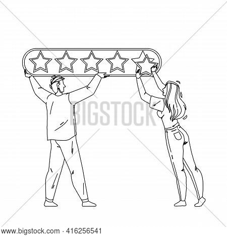 Online Survey Form Filling People Couple Black Line Pencil Drawing Vector. Young Man And Woman Onlin