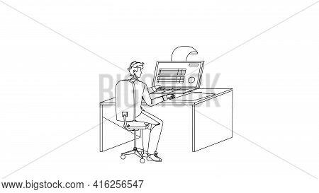 Man Filling Online Tax Form On Computer Black Line Pencil Drawing Vector. Businessman Fill Online Ta
