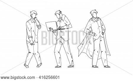 Personal Growth Business Skills Businessman Black Line Pencil Drawing Vector. Unemployed Man, Hard W