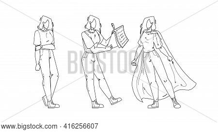 Personal Growth Career Young Business Woman Black Line Pencil Drawing Vector. Unemployed Girl, Educa