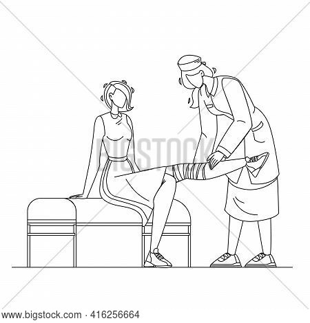 Doctor Giving Physiotherapy To Patient Black Line Pencil Drawing Vector. Nurse Bandaging Leg With El