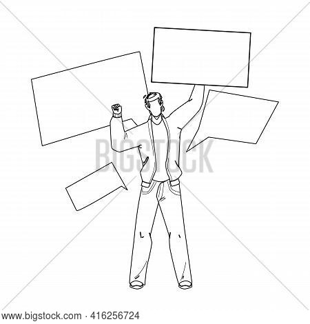 On Protest Demonstration Man With Posters Black Line Pencil Drawing Vector. Young Boy Activist Holdi