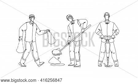 Road Worker Repairing Street Infrastructure Black Line Pencil Drawing Vector. Road Worker In Uniform