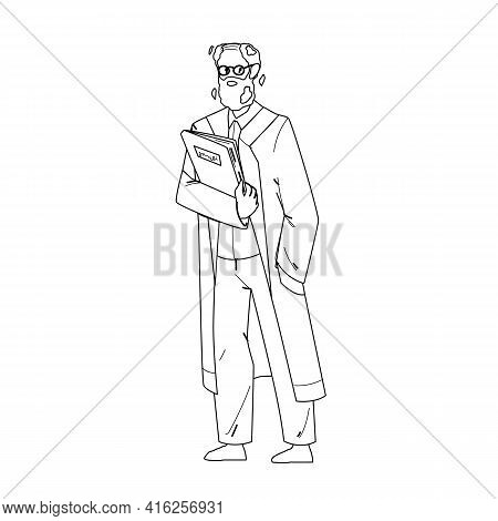 Scientist Old Man In Uniform With Folder Black Line Pencil Drawing Vector. Laboratory Worker Bearded