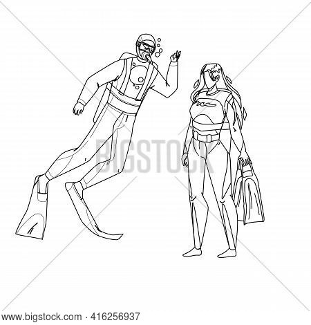 Scuba Diver Man And Woman Togetherness Black Line Pencil Drawing Vector. Scuba Diver Young Boy And G