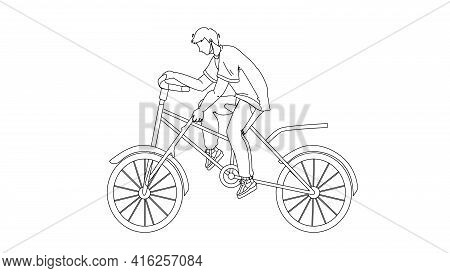 Stupidity Boy Put Spoke In Bicycle Wheel Black Line Pencil Drawing Vector. Stupid Man Bicycling And
