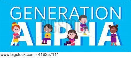 Vector Illustration Of Generation Alpha Children The First Generation