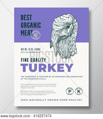 Best Organic Meat Abstract Vector Packaging Design Or Label Template. Farm Grown Poultry Banner. Mod