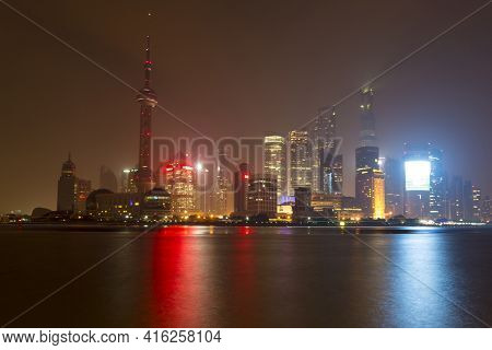 Shanghai, China, April 7: Nightview Of Shanghai's New Financial District By The Huangpu River At Nig