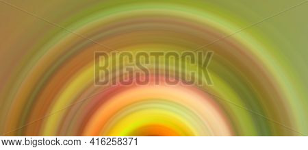 Abstract Round Green Background. Circles From The Center Point. Image Of Diverging Circles. Rotation