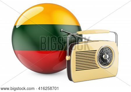 Radio Broadcasting In Lithuania Concept. Radio Receiver With Lithuanian Flag. 3d Rendering Isolated