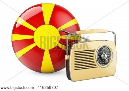 Radio Broadcasting In Macedonia Concept. Radio Receiver With Macedonian Flag. 3d Rendering Isolated
