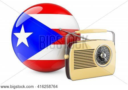 Radio Broadcasting In Puerto Rico Concept. Radio Receiver With Puerto Rican Flag. 3d Rendering Isola