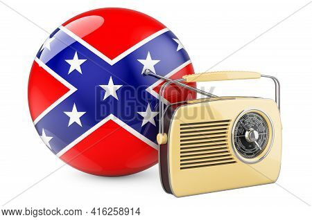 Radio Receiver With Confederate States Of America Flag, 3d Rendering Isolated On White Background