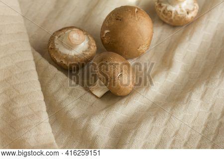 Raw Mushrooms Champignons On A Light Beige Fabric, Cooking Fresh Champignons.