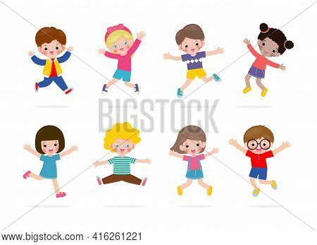 Set Group Collection Of Vector Cute Babies Kids Characters Playing Doing Activities In Different Var