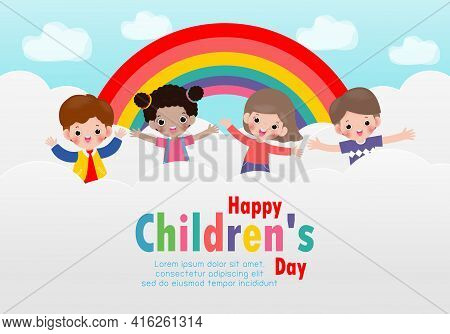 Happy Children's Day Background Poster With Happy Kids Jumping On The Cloud And Rainbow Greeting Car