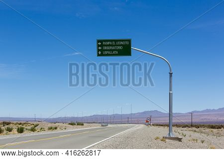 Directional Road Sign And Blue Sky At Pampa El Leoncito Along The Ruta 40 (route 40) In San Juan Pro