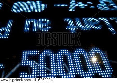 Stock Market Price Display With Black Background