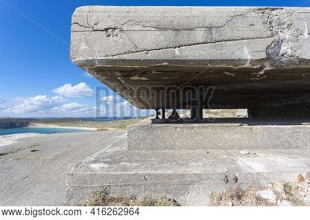 Panorama Of A German Bunker From The Second World War And The Atlantic Ocean. At The The Pointe De P