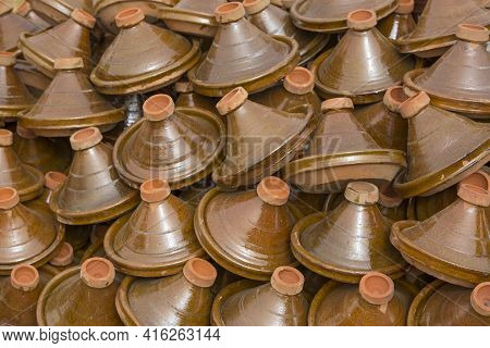 Selection Of Brown Moroccan Tajines (traditional Casserole Dishes) Found At The Market