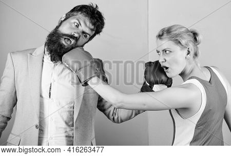 Bearded Man Hipster Fighting With Woman. Strength And Power. Knockout Punching. Who Is Right. Win Th