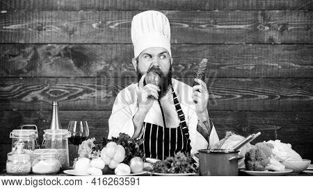 In Love With Healthy Food. Hunger And Appetite. Healthy Vegetarian Recipe. Man Bearded Hipster Hat A