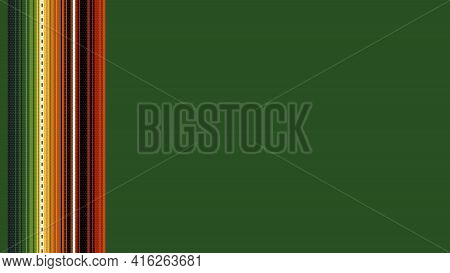 Ethnic Mexican Blanket Pattern. Vector Detailed Serape Design. Green Background. Background With Cop