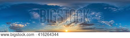 360 Panorama Of Dark Blue Sunset Sky With Clouds Seamless Hdr Spherical Equirectangular Format With