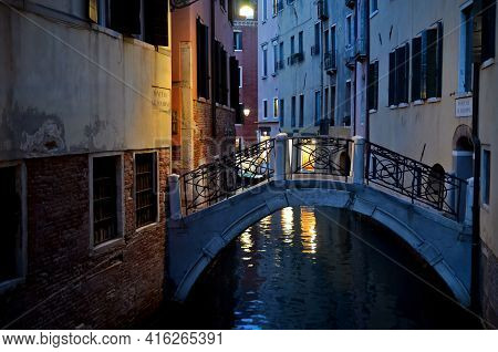 Typical Look Of Venice At Night With Bridge And Canal