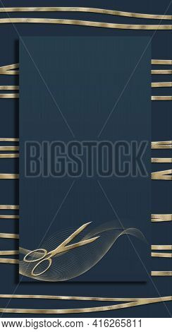 Hairdressing Scissors On Black, Golden Design. Vertical Salon Template. Professional Hairstyling Sci