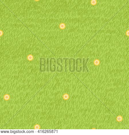 Lawn Grass With Dandelion Seamless In Summer,vector Cartoon Nature Green Field Texture, Cute Meadow,
