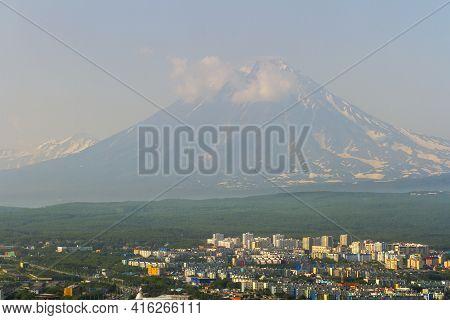 View Of The City Petropavlovsk-kamchatsky On Background Of Volcanoes. Russian Far East, Kamchatka Pe