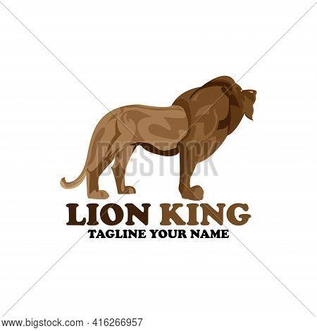 Lion King Design Logo Animal. Lion King Illustration Vector
