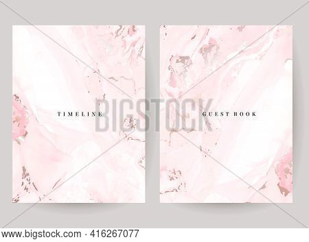 Blush Pink Watercolor Fluid Painting Vector Design Cards