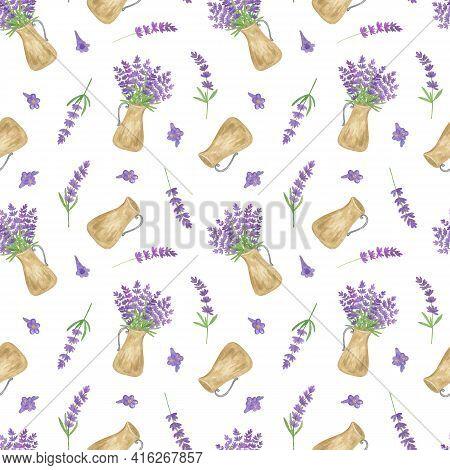 Lavender Flowers, Beige Vintage Jar Seamless Pattern, Symbol Of French Provence Region, Summer And V