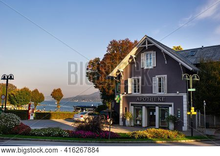 October 14, 2018.velden Am Worther See, Austria.city Street With Houses In Velden Am Worther See