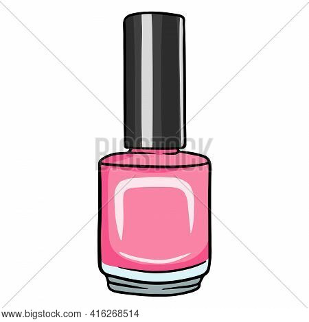 A Small Bottle Of Varnish Or Gel Varnish. Necessary For The Master. Vector Illustrations In Cartoon