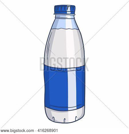 Milk Bottle. Milk Products. Fresh Milk. Farm Products. Vector Illustration In Cartoon Style For Desi