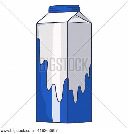 Milk In A Cardboard Box. Milk Products. Fresh Milk. Farm Products. Vector Illustration In Cartoon St