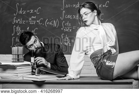 Lustful Tutor. Girl Sexy Buttocks Sit Table. Everyone Dreaming About Such Teacher. Experimenting Wit