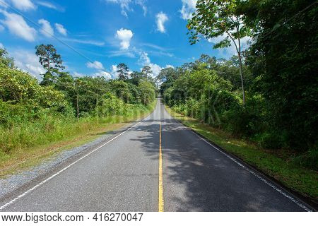 Mountain Road. Summer Time. Background, Travel, Landscape. Highway In The Mountains. Good Asphalt Ro