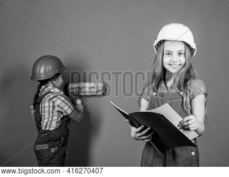 Builder Engineer Architect. Kid Worker In Hard Hat. Child Development. Future Profession. Tools To I